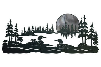 "42"" Swimming Loons Scenic Metal Wall Art"
