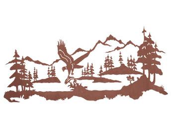 "57"" Eagle Fishing Metal Wall Art"