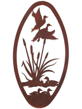 "22"" Oval Flying Ducks Metal Wall Art"