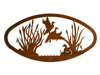 """22"""" Oval Ducks in the Marsh Metal Wall Art"""