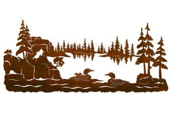 "57"" Swimming Loons Scenic Metal Wall Art"