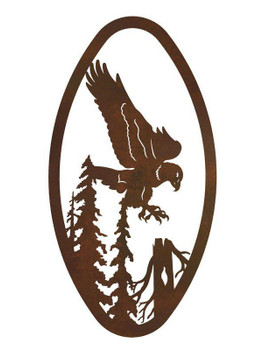 "22"" Oval Flying Eagle Metal Wall Art"