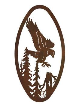 "22"" Oval Flying Eagle Metal Wall Art"