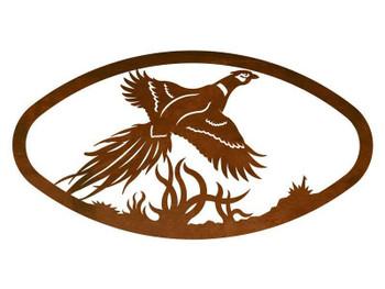 "22"" Oval Flying Pheasant Bird Metal Wall Art"
