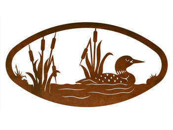 "22"" Oval Swimming Loon Metal Wall Art"