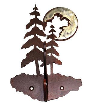 Burnished Pine Tree Double Metal Wall Hook