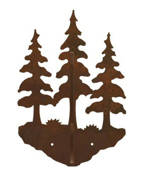 Triple Pine Trees Double Metal Wall Hook