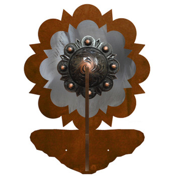 Burnished Round Copper Berry Concho Double Metal Wall Hook