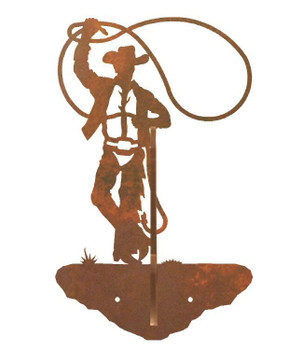 Roping Cowboy Double Metal Wall Hook