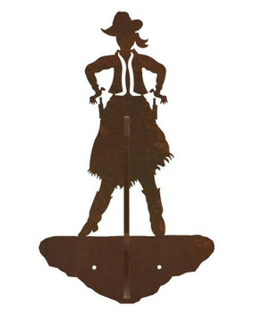 Cowgirl Drawing Pistol Double Metal Wall Hook