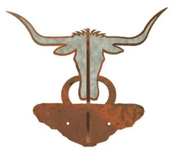 Burnished Longhorn Steer Double Metal Wall Hook