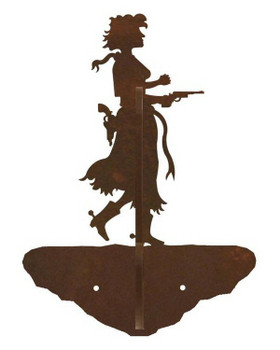 Cowgirl with Pistol Double Metal Wall Hook