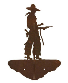 Cowboy with Pistol Double Metal Wall Hook