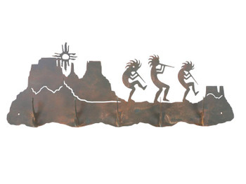 Dancing Kokopellis Five Hook Metal Wall Coat Rack