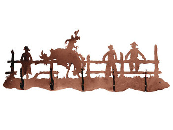 Bucking Bronco Rider Five Hook Metal Wall Coat Rack