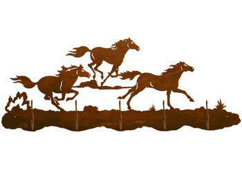 Running Wild Horses Scenic Five Hook Metal Wall Coat Rack