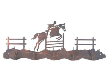 Equestrian Show Jumping Five Hook Metal Wall Coat Rack