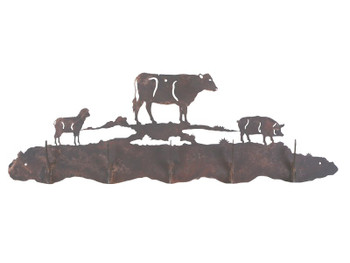 Farm Animals Five Hook Metal Wall Coat Rack