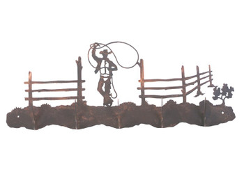 Roping Cowboy Scene Five Hook Metal Wall Coat Rack