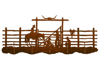 Cowboy Corral Scenic Five Hook Metal Wall Coat Rack