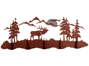 Burnished Elk Scene Five Hook Metal Wall Coat Rack