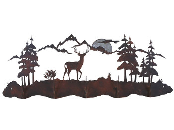 Burnished Whitetail Deer Scene Five Hook Metal Wall Coat Rack