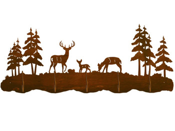 Deer Family and Pine Trees Scenic Five Hook Metal Wall Coat Rack