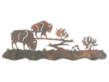 Buffalo Scene Five Hook Metal Wall Coat Rack