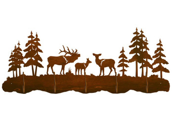 Elk Family and Pine Trees Scenic Five Hook Metal Wall Coat Rack