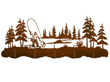 Fly Fisherman and Pine Trees Scenic Five Hook Metal Wall Coat Rack