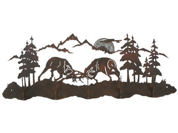 Burnished Bull Elk Fighting Five Hook Metal Wall Coat Rack