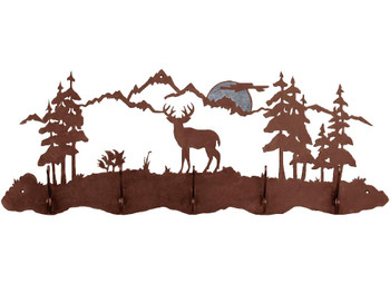 Burnished Mule Deer Scene Five Hook Metal Wall Coat Rack