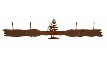 Double Pine Trees Four Hook Metal Wall Coat Rack