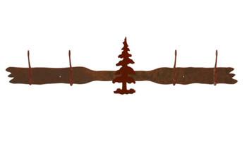 Single Pine Tree Four Hook Metal Wall Coat Rack