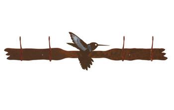 Burnished Hummingbird Four Hook Metal Wall Coat Rack