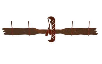 Canoe Four Hook Metal Wall Coat Rack