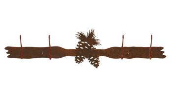Pine Cones Four Hook Metal Wall Coat Rack
