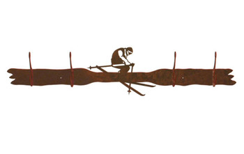 Snow Skier Four Hook Metal Wall Coat Rack