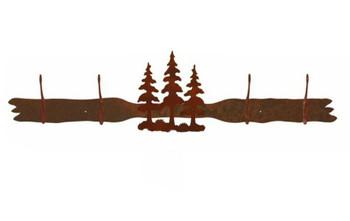 Triple Pine Trees Four Hook Metal Wall Coat Rack
