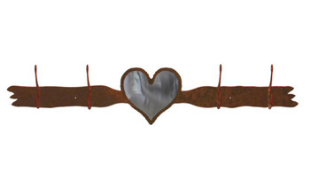 Burnished Heart Four Hook Metal Wall Coat Rack