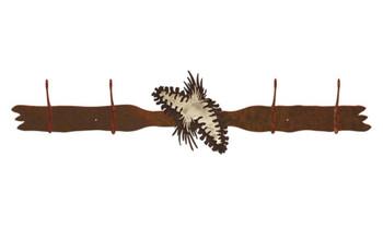 Burnished Pine Cones Four Hook Metal Wall Coat Rack