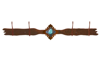 Turquoise Stone Four Hook Metal Wall Coat Rack