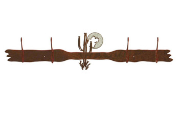 Burnished Desert Moon Four Hook Metal Wall Coat Rack