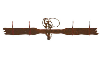 Roping Cowboy Four Hook Metal Wall Coat Rack
