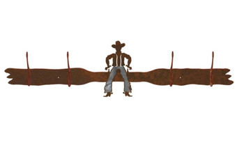 Burnished Cowboy Drawing Pistol Four Hook Metal Wall Coat Rack