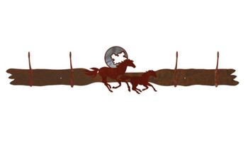 Burnished Running Horses and Moon Four Hook Metal Wall Coat Rack
