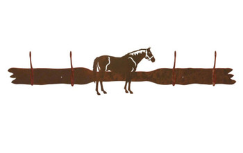 Bay Horse Four Hook Metal Wall Coat Rack