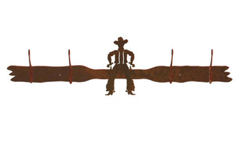 Cowboy Drawing Pistol Four Hook Metal Wall Coat Rack