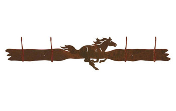 Running Horse Four Hook Metal Wall Coat Rack