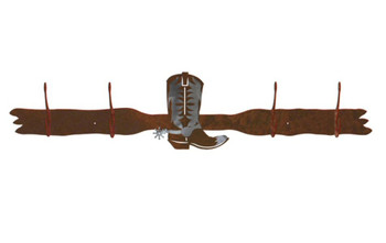 Burnished Cowboy Boot Four Hook Metal Wall Coat Rack